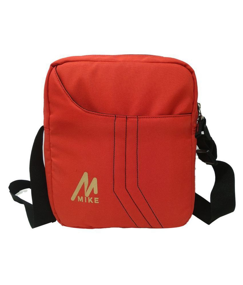 MIKE Red Polyester Casual Messenger Bag