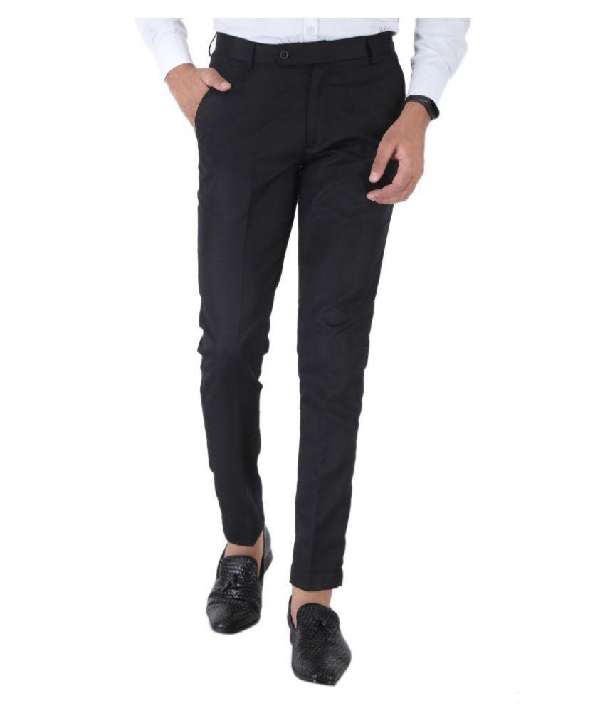 SREY Black Slim -Fit Flat Trousers