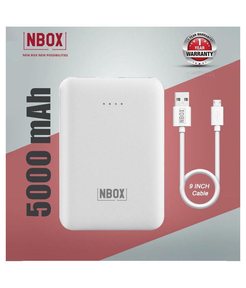 NBOX YB 2Amp 5000  mAh Li Polymer Power Bank White