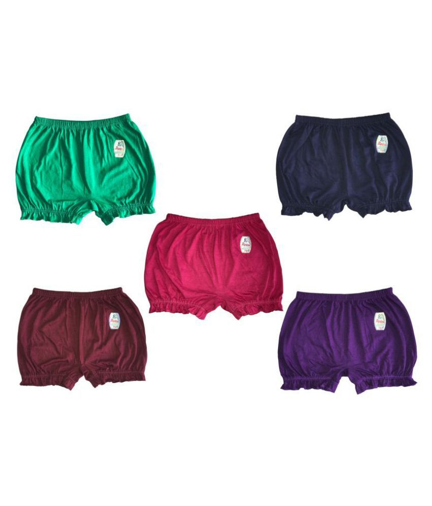 Soft Apparels Peppy Plain Bloomer for Kids - Pack of 5