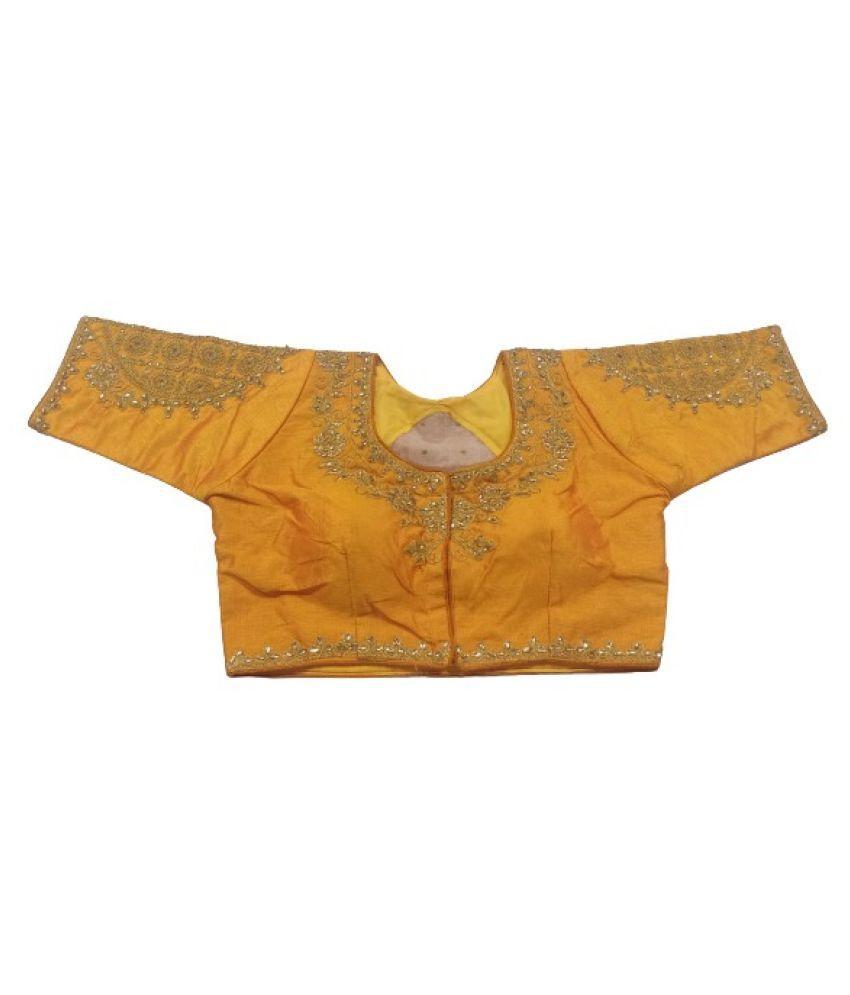 LINISA Mustard Dupian Silk Readymade with Pad Blouse