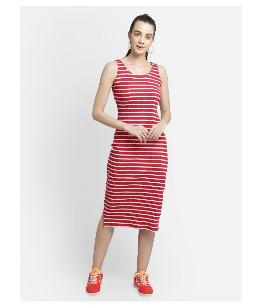 Yaadleen Cotton Red Regular Dress