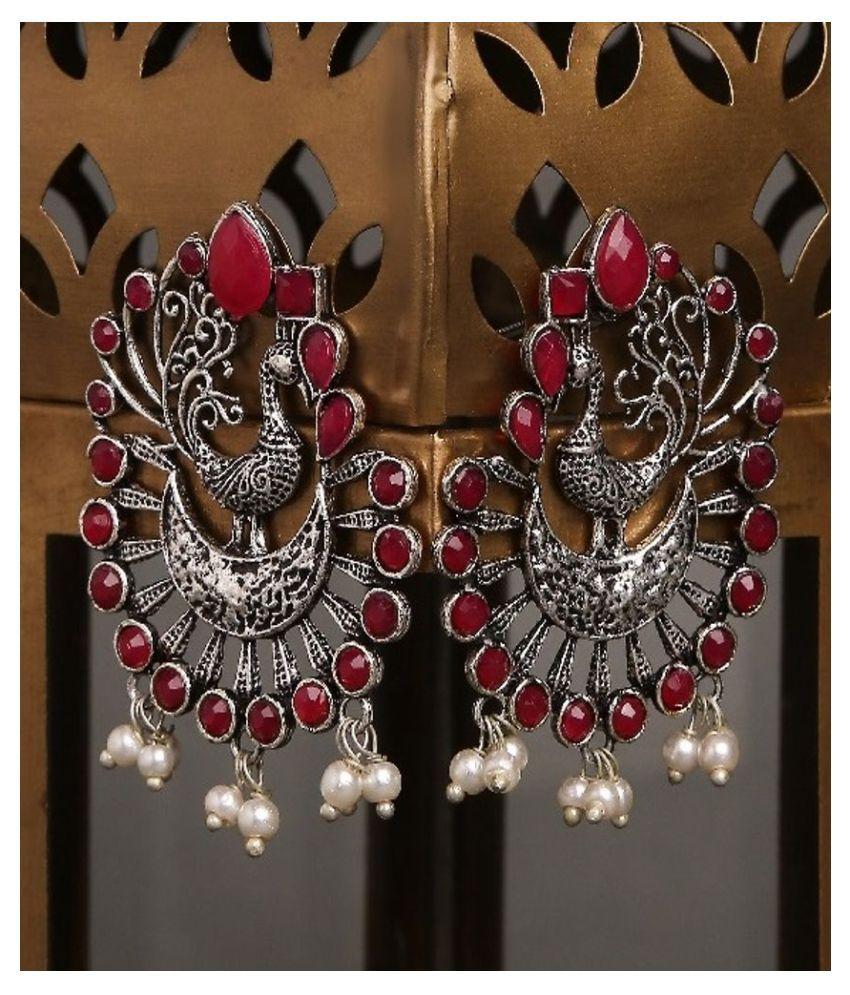 Fabula Jewellery Oxidised German Silver with Maroon Stone & Pearls Peacock Ethnic Drop Earrings for Women & Girls