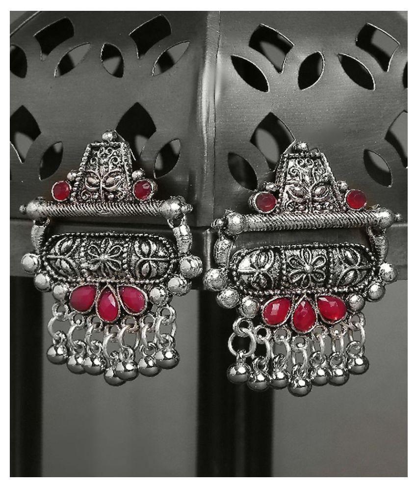 OOMPH Jewellery German Oxidised Silver with Maroon Stone Ethnic Drop Earrings for Women  amp; Girls