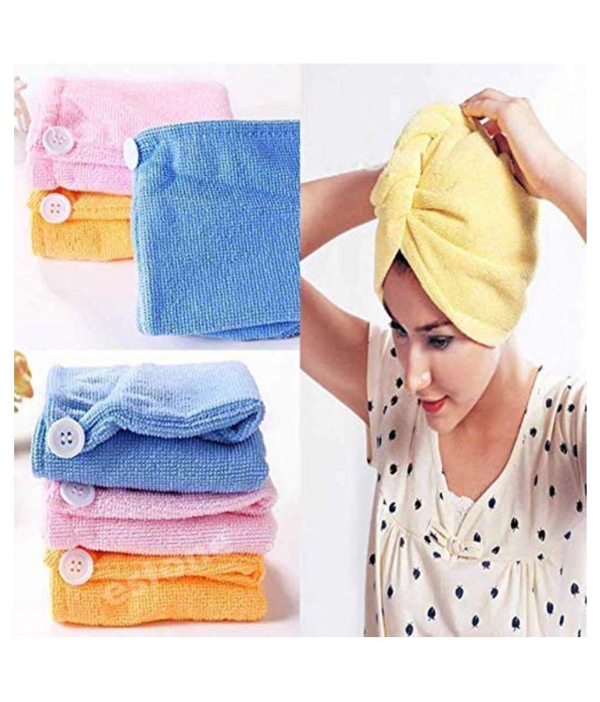 Rudrax Cotton Hair Towel Wrap (4 Pieces, Multicolor)