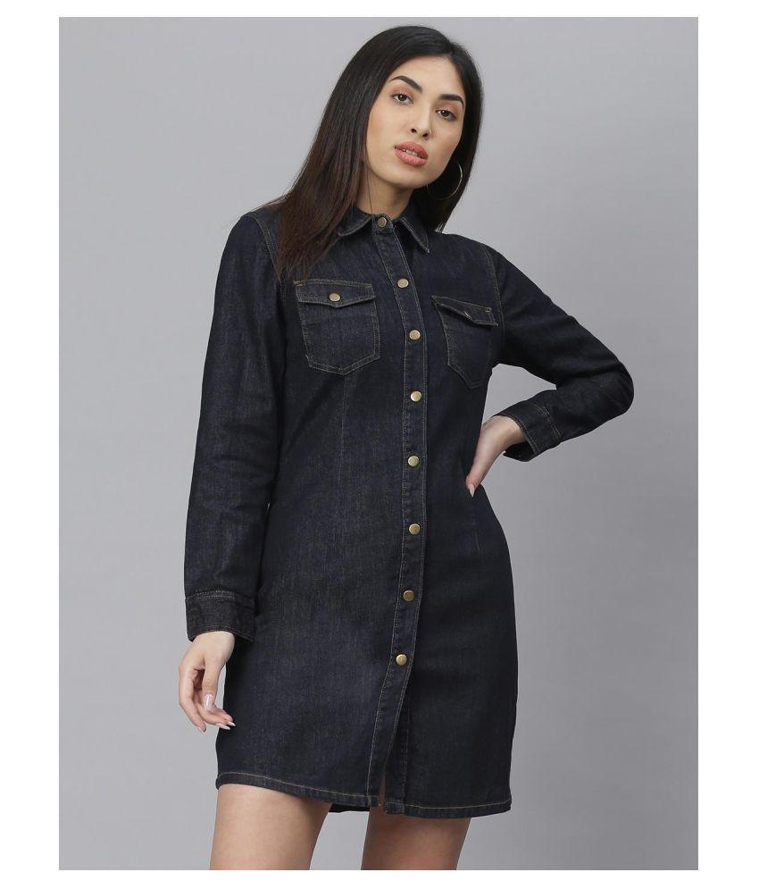 kotty Cotton Lycra Blue A- line Dress