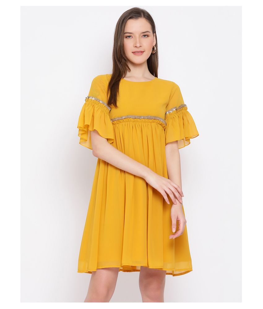DRAAX Fashions Polyester Yellow Fit And Flare Dress
