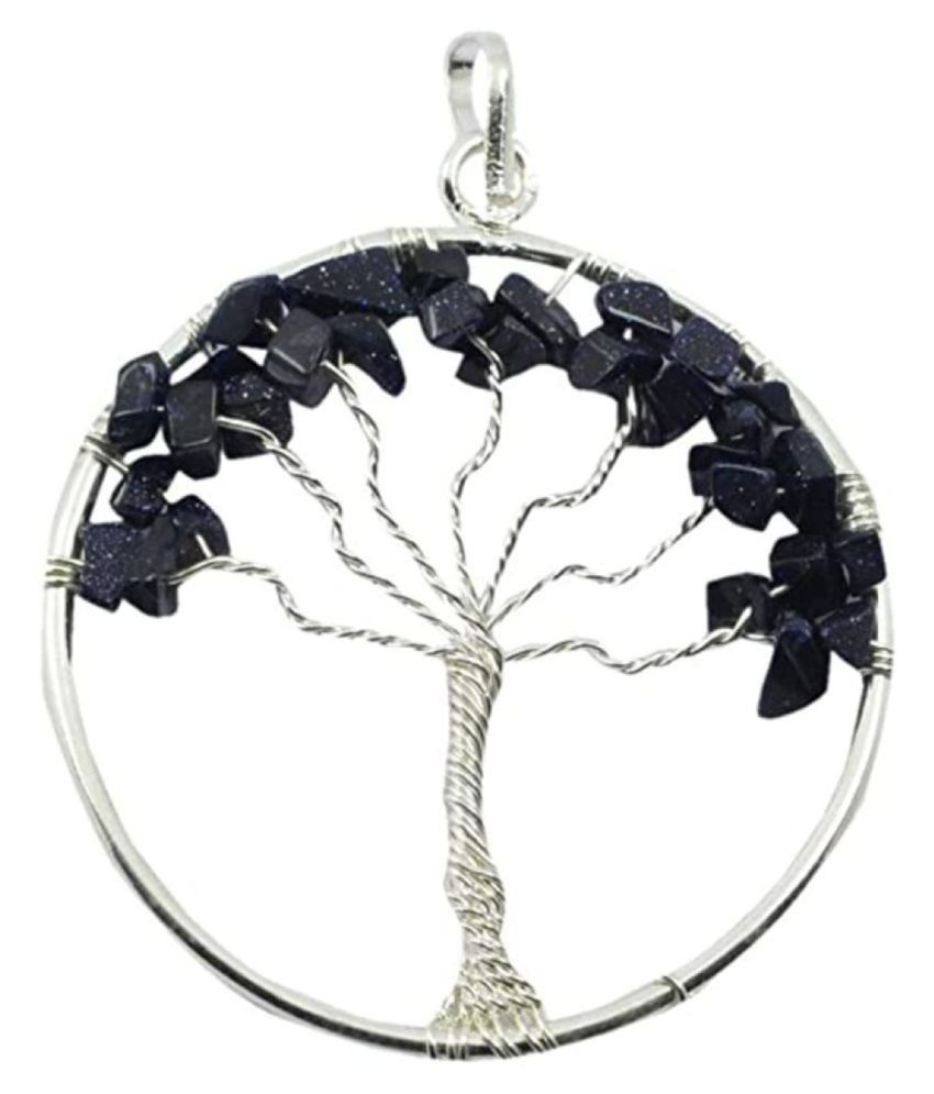 Blue Gold Stone Natural Agate Stone Tree Of Life Pendent