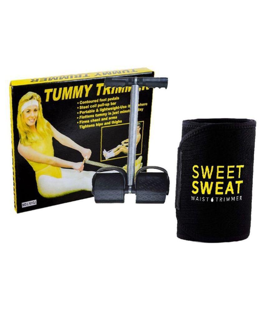 Tummy Trimmer & Belt Combo Abs Exerciser Core Abdominal Waist Trimmer Fat Buster Belt Home Gym Accessories Workout Equipment For Men & Women