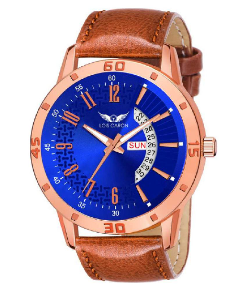 Lois Caron LCS 8243 Leather Analog Men #039;s Watch
