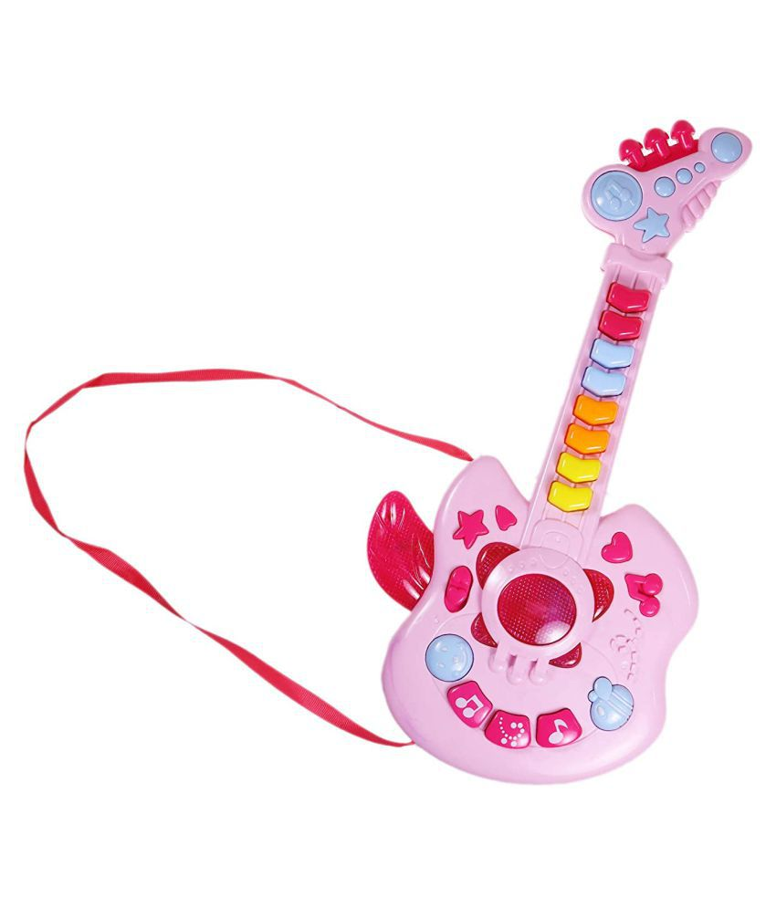 WISHKEY Plastic Cool Musical Guitar with Light & Different Sounds , Battery Operated Entertainment Toys for Toddlers Kids 3 Years & Above (Pack of 1, Pink)