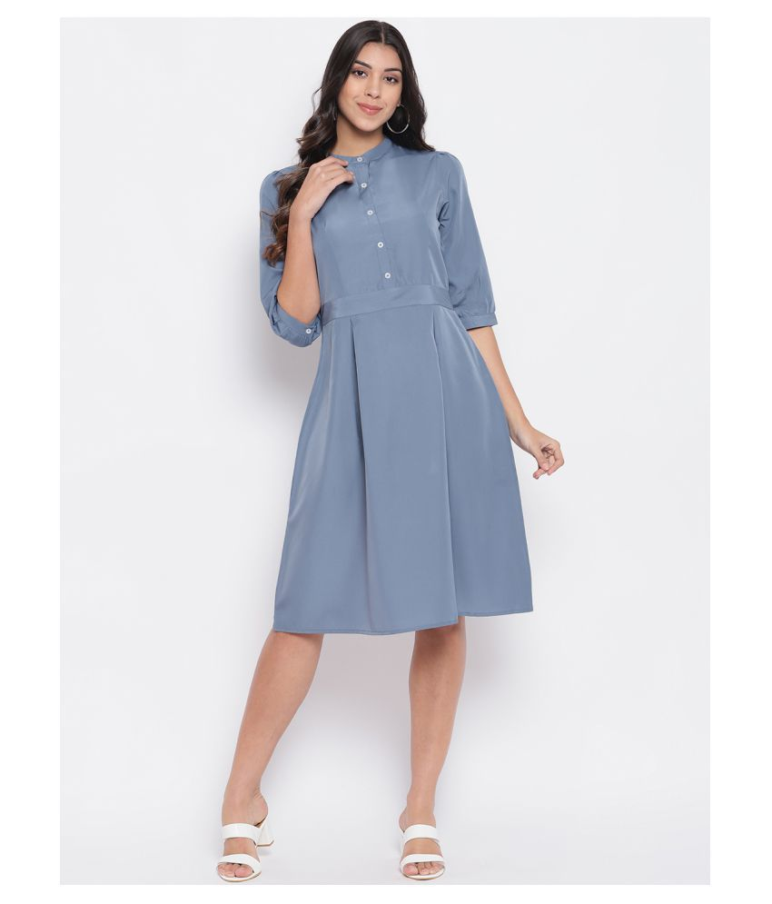 DR874 Polyester Grey A- line Dress