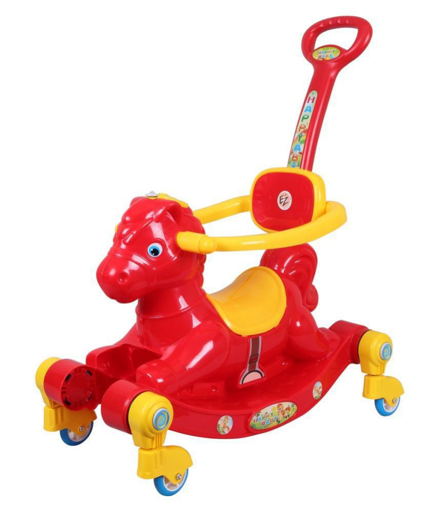EZ' Playmates Happy Horse rocker cum manual push-pull ride on with navigator - Red