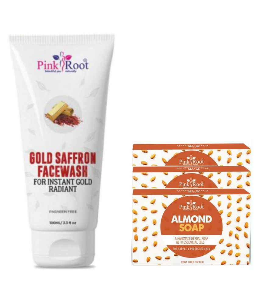 Pink Root Almond Soap 3Pcs With Gold Saffron Face Wash 100 mL Pack of 4