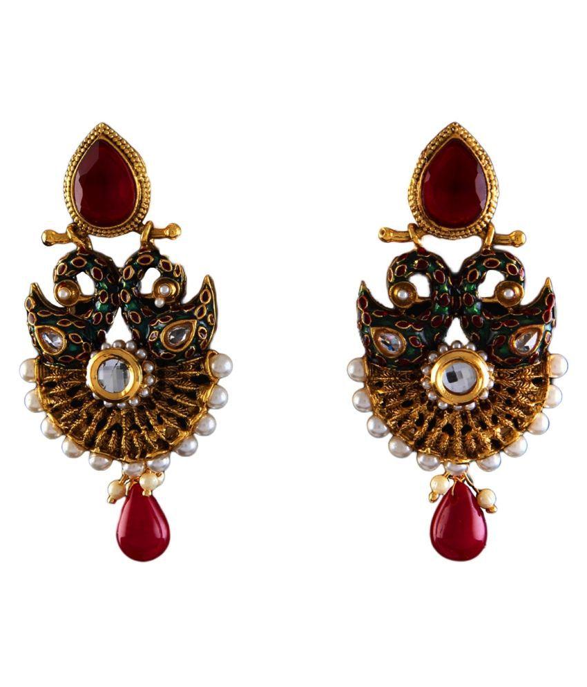 Dangler Earrings Gold Plated Crystal Embellished Crystal Handcrafted Dangler Earrings Gold Plated Crystal Embellished for Women Girl Ladies Handcrafted