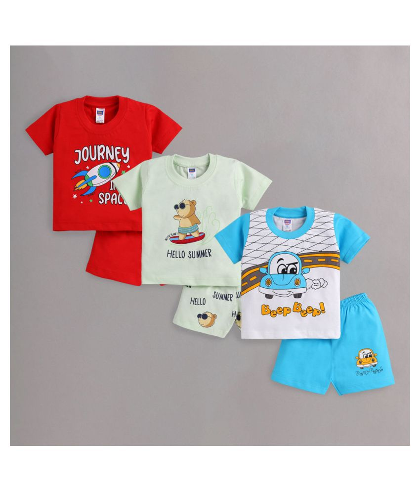 Hopscotch Baby Boys Cotton Short Sleeves Printed Short Set in Multi Color For Ages 6-12 Months (NPL-3621020)