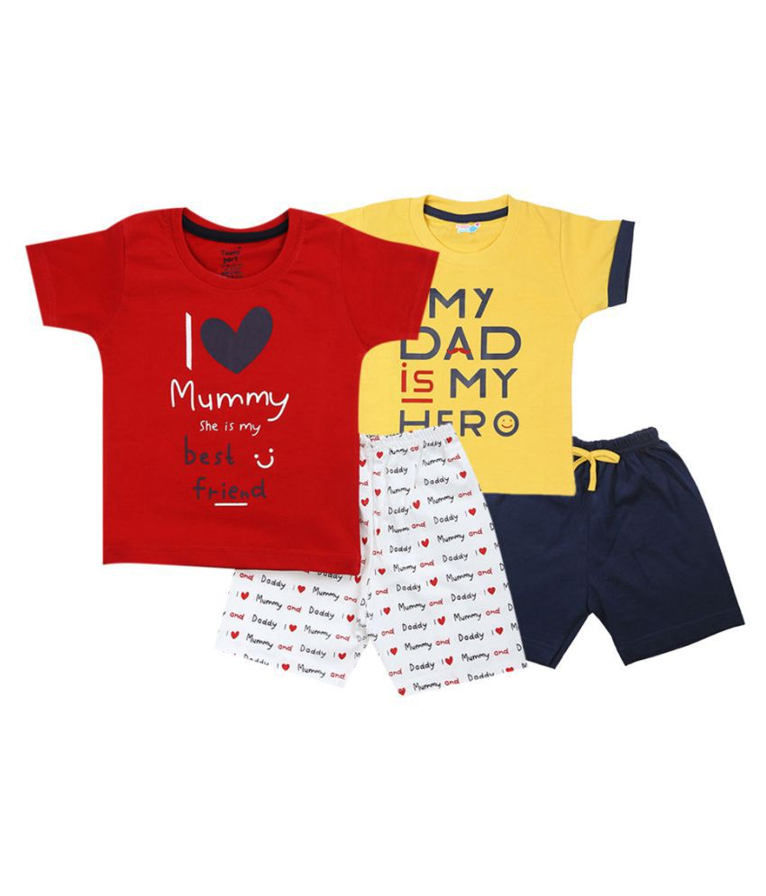 Hopscotch Baby Boys Cotton Text Printed Short Set Pack Of 2 in Multi Color For Ages 6-12 Months (TPD-3626977)