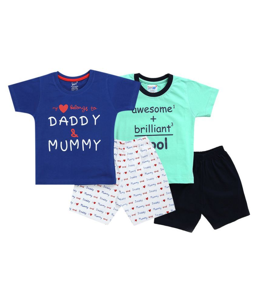 Hopscotch Baby Boys Cotton Text Printed Short Set Pack Of 2 in Multi Color For Ages 18-24 Months (TPD-3626994)