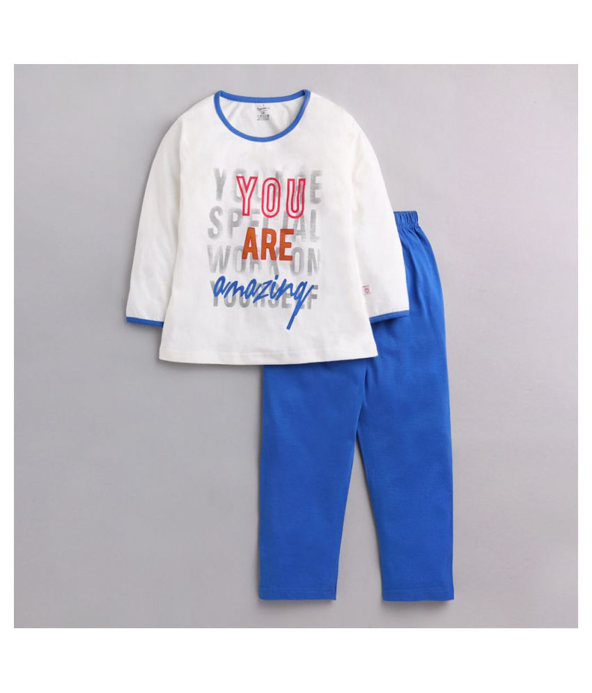 Hopscotch Girls Sinker Cotton Full Sleeves Printed Top Pyjama Set in Blue Color For Ages 6-7 Years (COB-3636375)