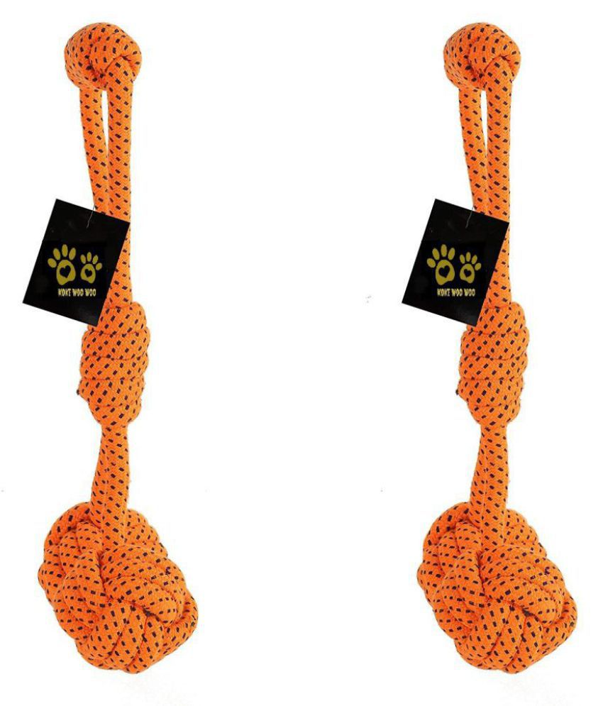 KOKIWOOWOO Dog Rope Chew Toy Handle With Ball Pack of 2