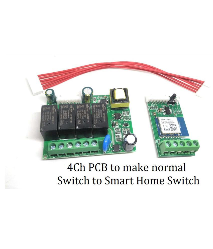 Jenix Smart Home PCB for 4 Gang/Switch PCB Board for Home Automation with Manual and WiFi Control Work Online and Offline as Well Compatible with Alexa and Google Home