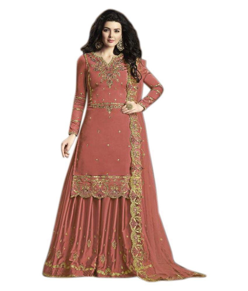 THE 9192 Orange Silk Pakistani Semi-Stitched Suit