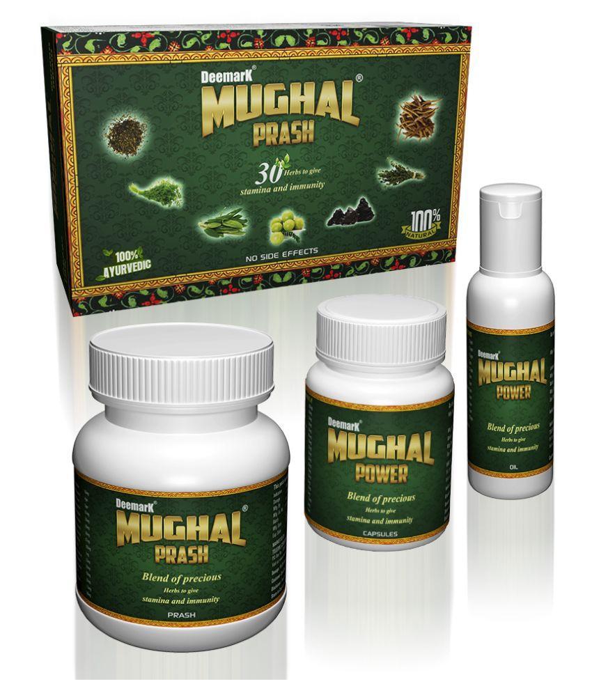 Deemark Mughal Prash, Oil and Tablet (250Gm. Prash, 50ml. Oil, 30 Tablets) | 100% Ayurvedic | 30 Herbs To Give Stamina and Immunity