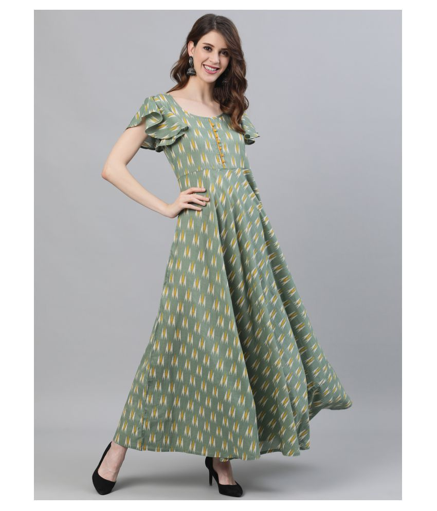 AKS Cotton Green Fit And Flare Dress