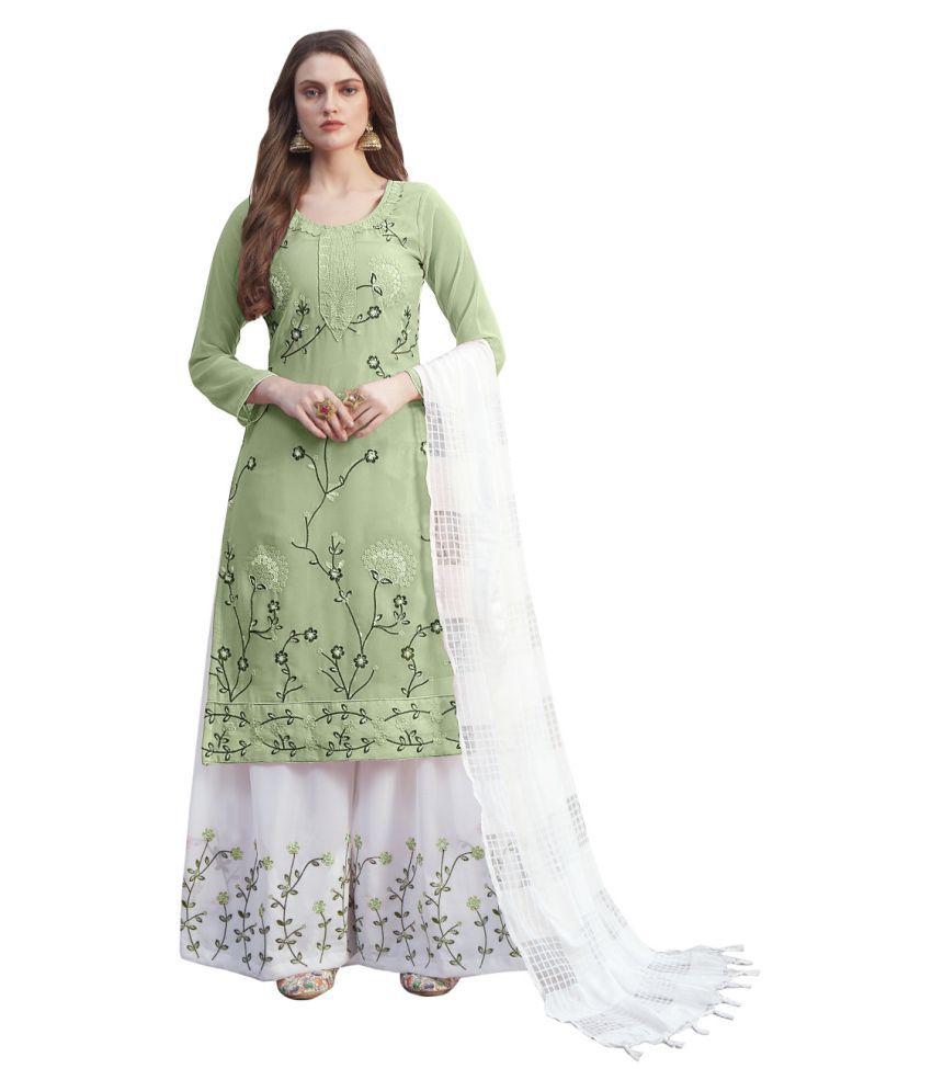 THE 9192 Green Georgette Pakistani Semi-Stitched Suit - Single
