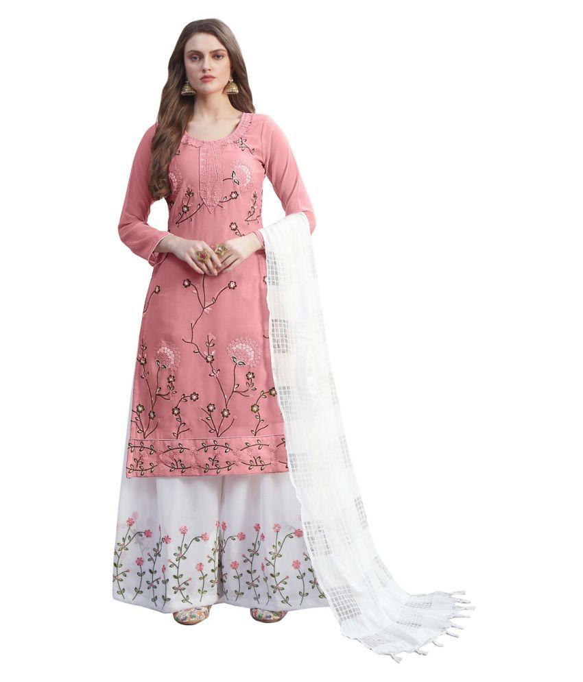 THE 9192 Pink Georgette Pakistani Semi-Stitched Suit - Single