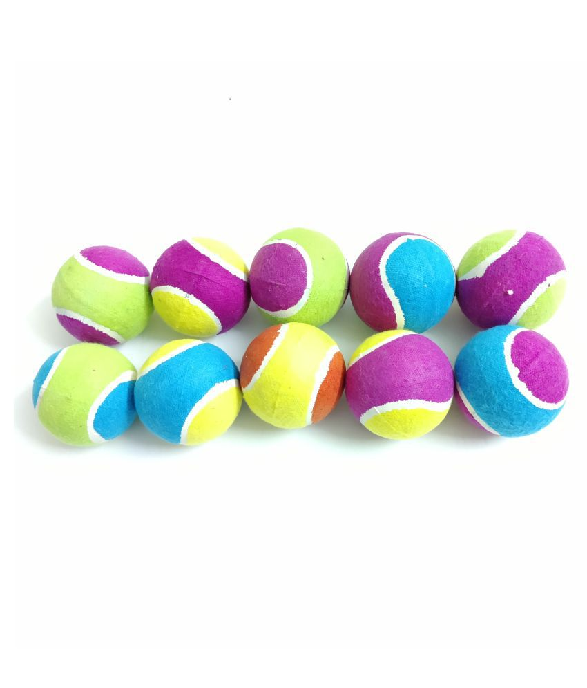 THE PAWXI TENNIS BALL DOG TOY FOR PET FOR PLAYING AND FETCH TOY CRICKET BALL FOR KIDS (COLOUR-ASSORTED, PACK OF 10)
