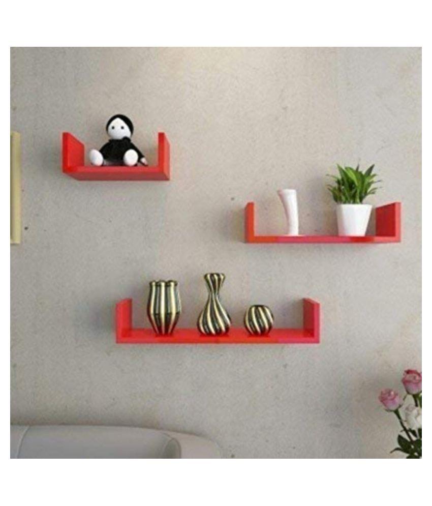 VEDO U Shape Floating Wall Shelf Display Rack Set of 3 Shelves for Home Living Room  Red