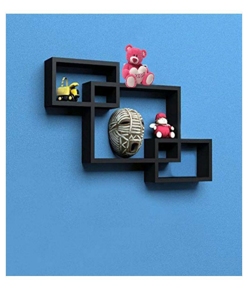 VEDO Wooden Intersecting Wall Mounted Shelf for Living Room Home Decor Floating Shelves  Set of 3   Black