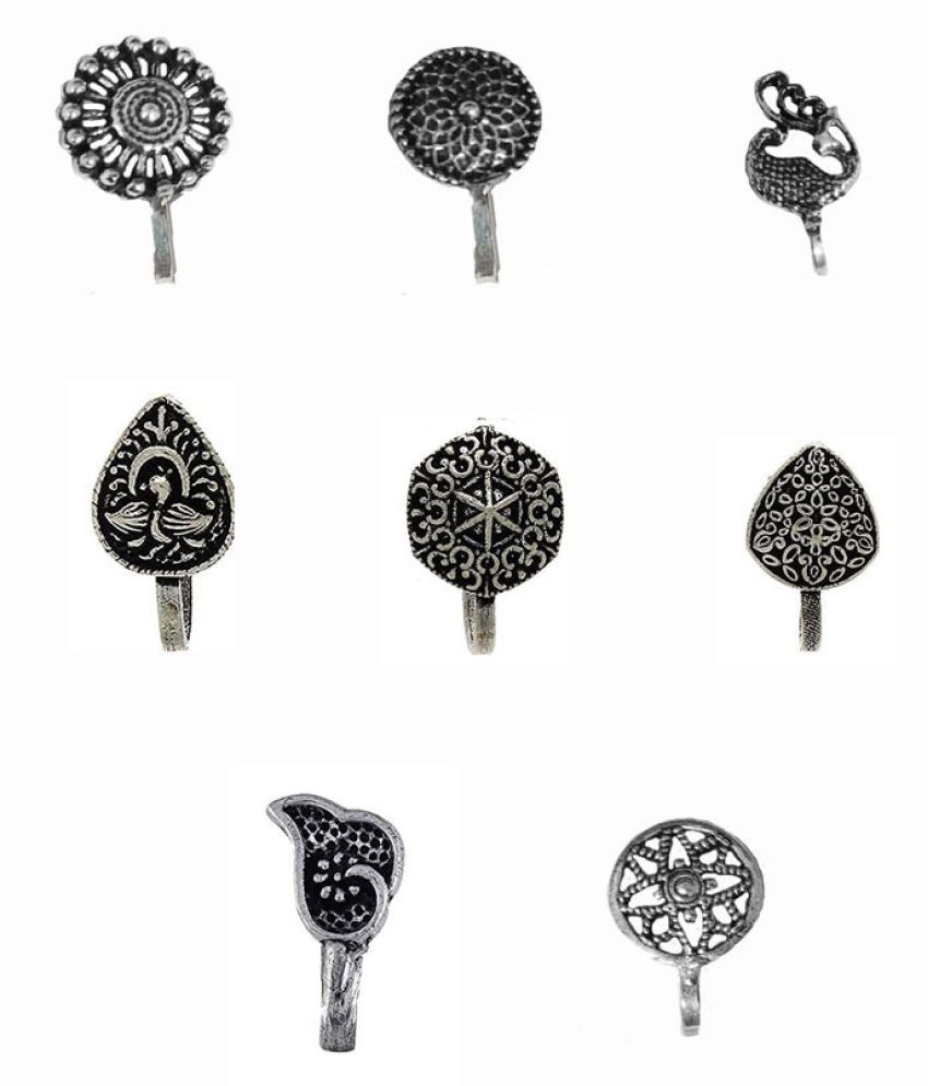 Beautiful Classic Designs 8 Pcs Combo Silver Oxidized Finishing Without Piercing Nose Pins for Women & Girls\n