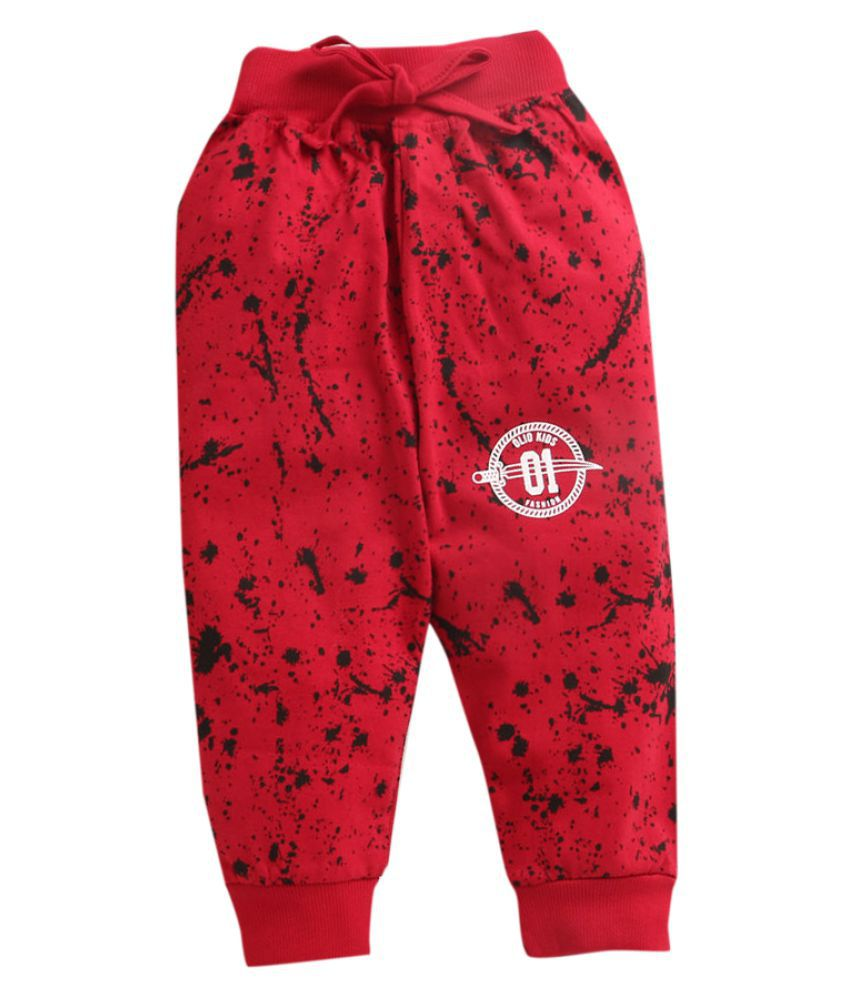 Hopscotch Baby Boys Cotton All Over Printed Joggers in Red Color For Ages 12-18 Months (OJO-3653376)