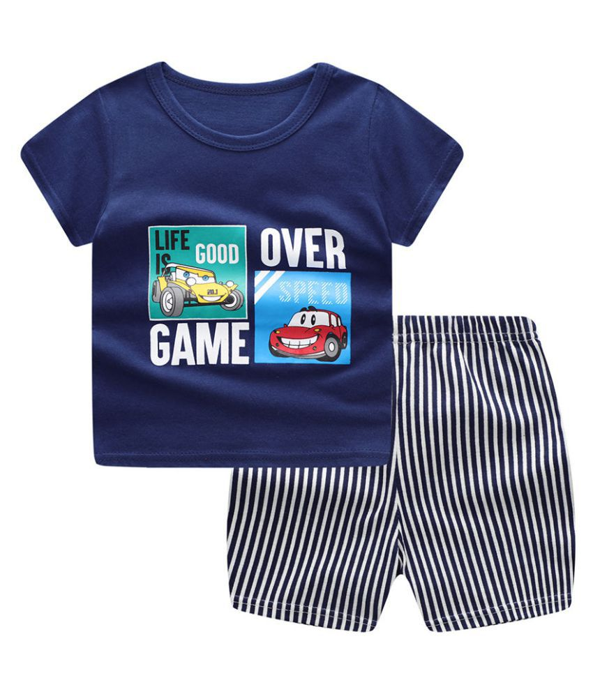 Hopscotch Baby Boys Cotton Half Sleeves Text Printed T-Shirt And Short Set in Navy Color For Ages 18-24 Months (TGX-3539082)