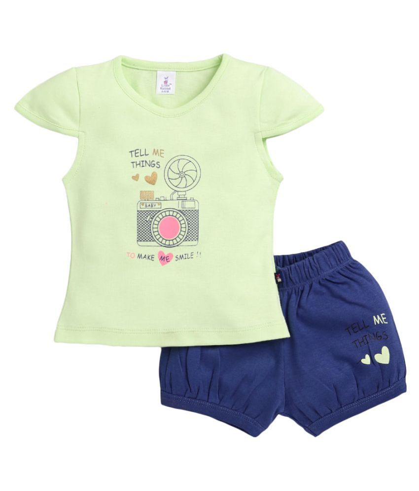 Hopscotch Baby Girls Cotton and Polyester Short Sleeves Shot Set in Green Color For Ages 3-6 Months (LRB-3368636)