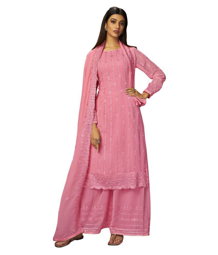 VUBA Pink Georgette Straight Semi-Stitched Suit - Single
