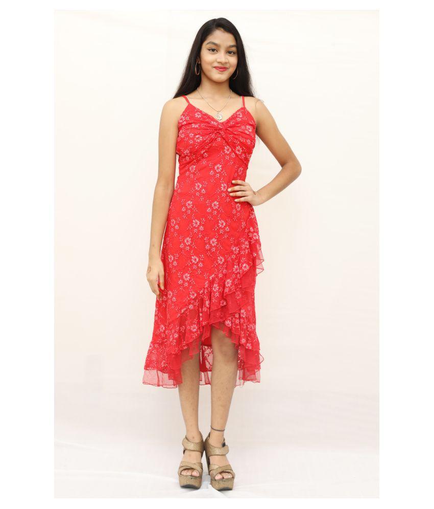 ARRICK FASHION Linen Red A- line Dress -