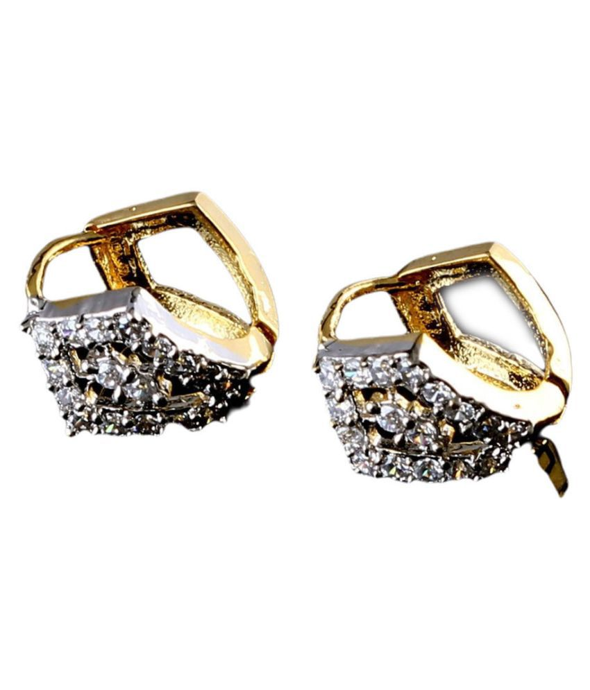 Fine Studs Earrings White CZ Stone Studded Cubic Zircon 14K Gold Plated Thin Gold Hoops Kan Ka Bali Artificial Earrings For Girls Stylish Imitation Jewellery For Girls