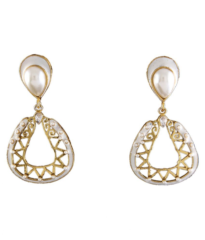 Dangler Earrings Gold Plated Ruby Studded Ruby Pretty Dangler Earrings Gold Plated Ruby Studded for Girlfriend Wife Pretty