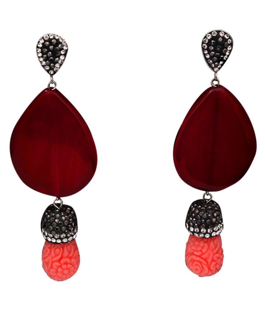 Gemsonclick Fancy Design Dangle Drop Earrings German Silver Jasper, CZ Red Designer Fashion Jewellery Earrings for Girls Ladies