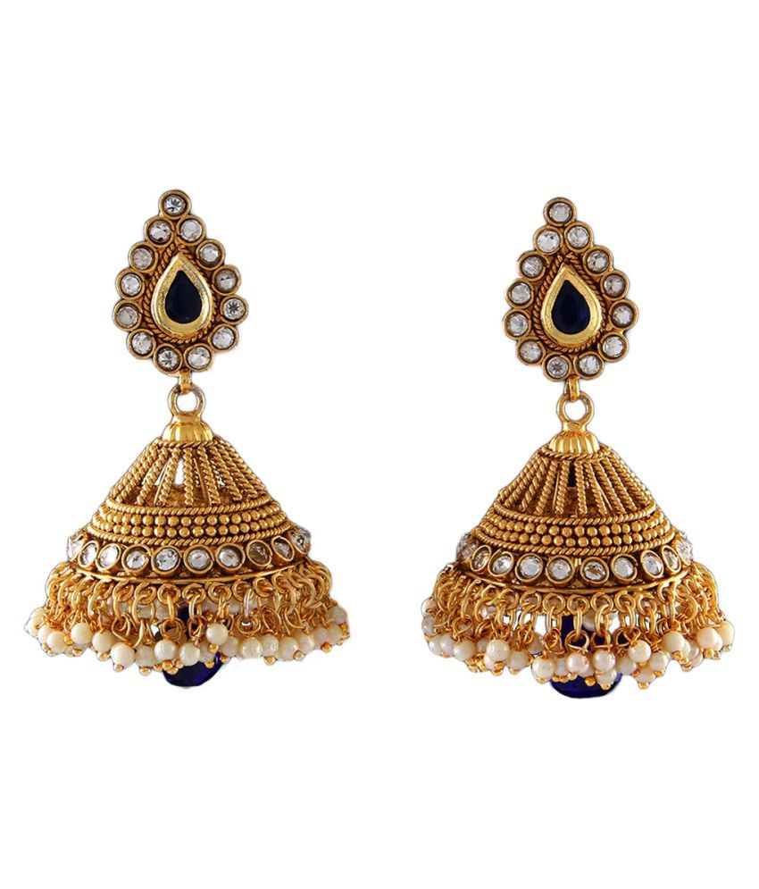 Pearl Jhumki Earrings Gold Plated Red Ruby Red Ruby Dazzling Pearl Jhumki Earrings Gold Plated Red Ruby for Wife Sister Dazzling