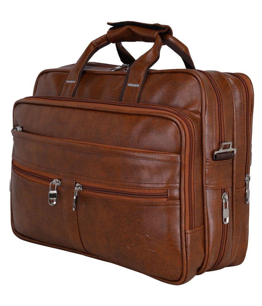 Leather World Tan P.U. 21 Ltrs Office Bag