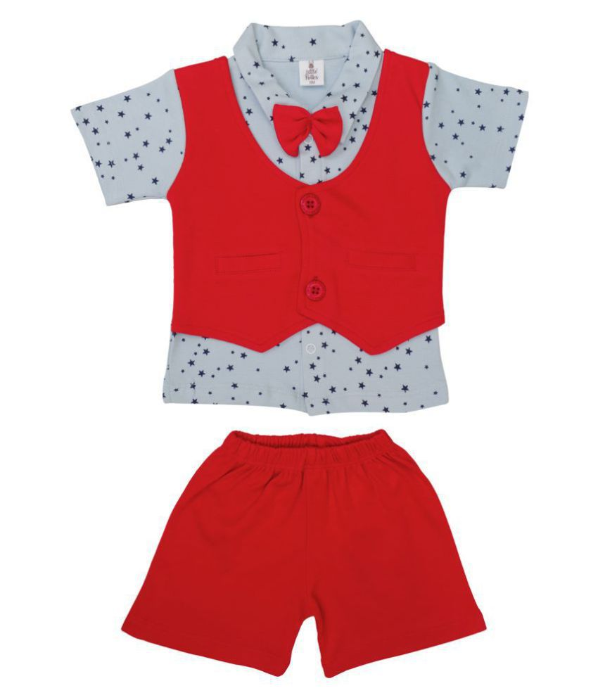 Little Folks Baby Boys smart Waistcoat with Bow and soft Cotton Shorts Combo Set made for the Summer (Red & Blue)
