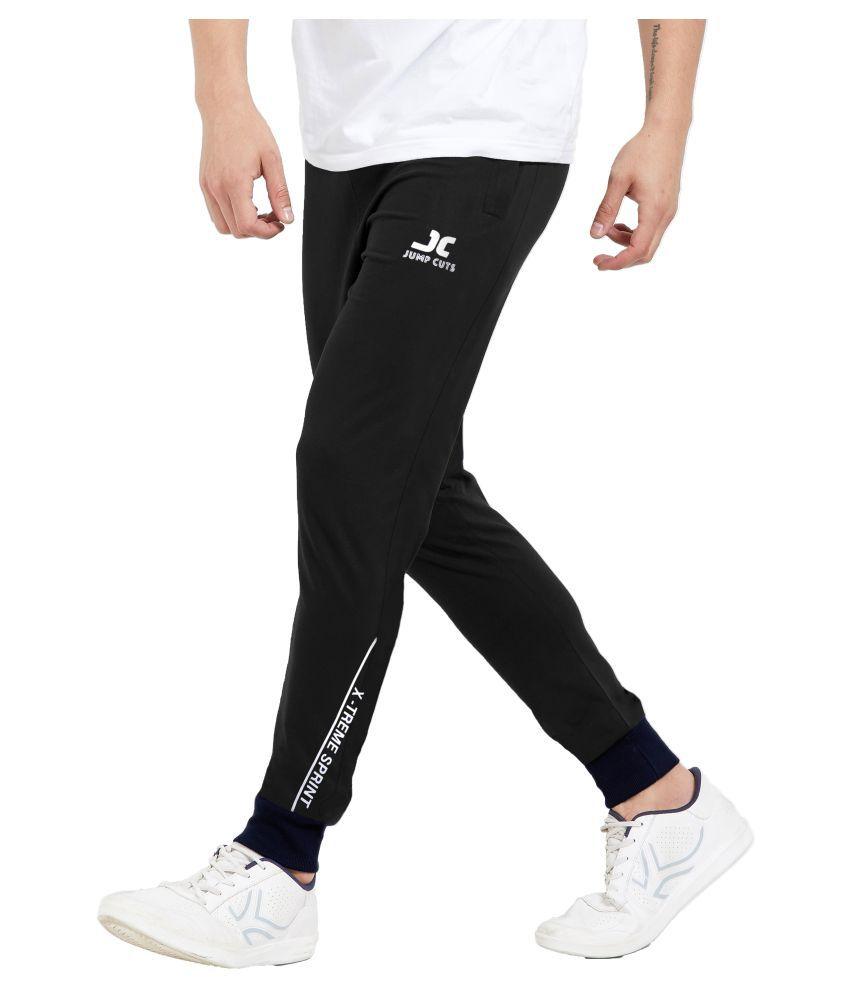 JUMP CUTS Black Cotton Trackpants