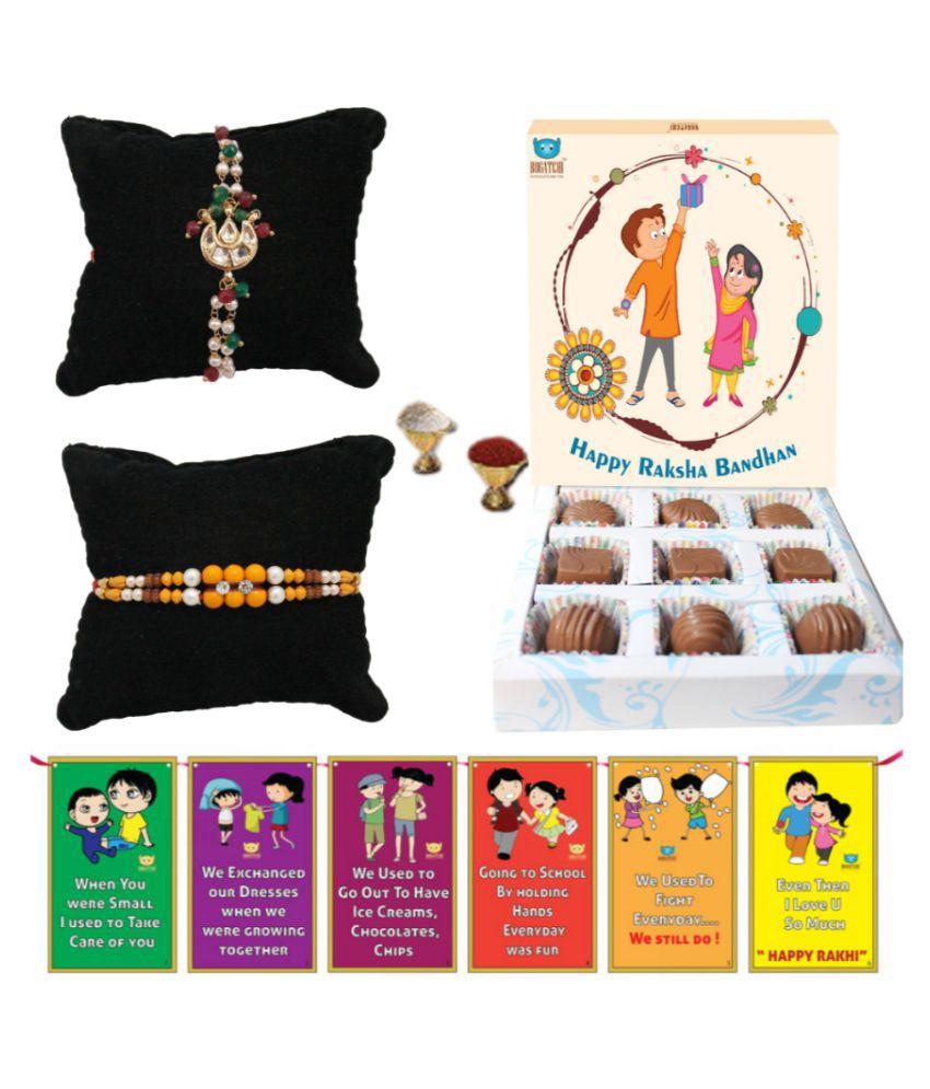 BOGATCHI Assorted Box Rakhi for Brother Rakhi & Chocolates 200 gm