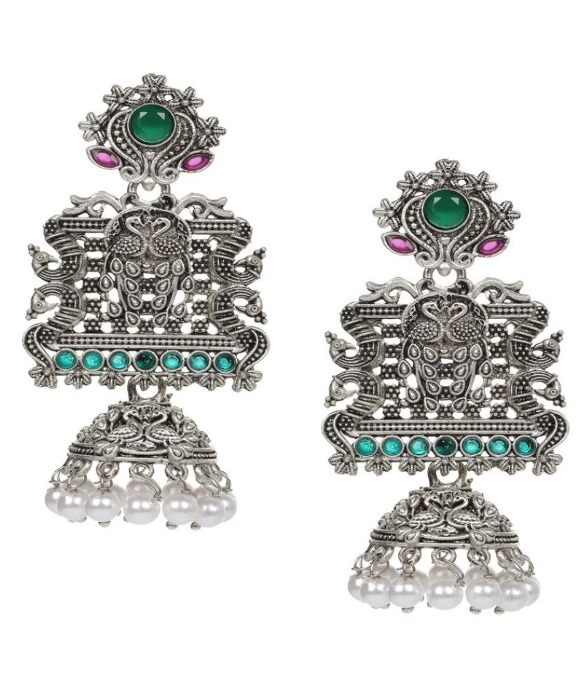 Fabula Jewellery Antique Silver Tone Green & Red Stone in Peacock Design Ethnic Jhumka/Jhumki Earrings for Women & Girls