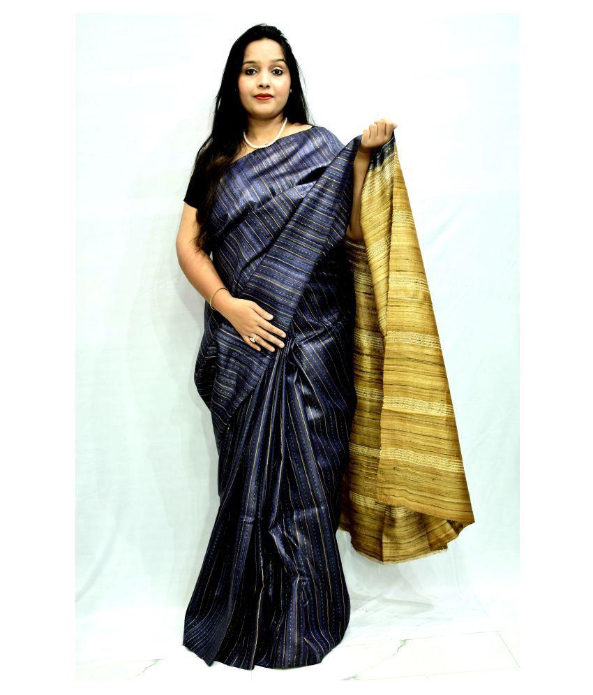 MOHEY DESI Blue Tussar Silk Saree - Single