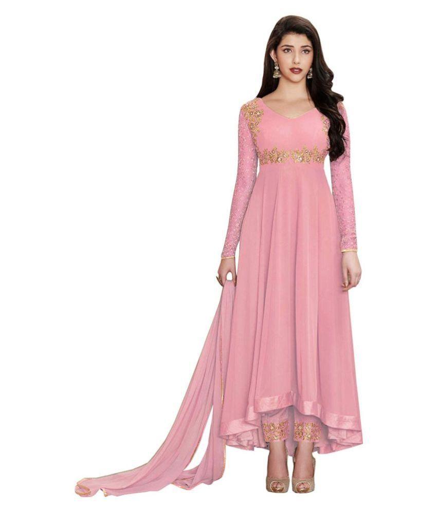 FASHION KREZA Pink Georgette Anarkali Semi-Stitched Suit - Single